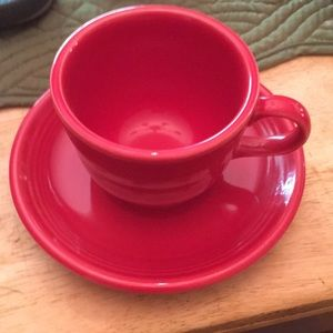 Fiesta red saucer with coffee cup